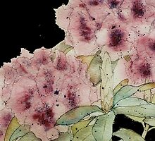 Graceful Blooms on Black - Watercolor by ArtByDrax