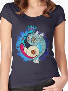Paint-Splattered Aquatic Yin Yang - Gyarados & Milotic Women's Fitted Scoop T-Shirt