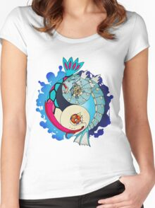 Paint-Splattered Aquatic Yin Yang - Gyarados & Milotic Women's Fitted Scoop T-Shirt