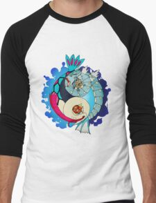 Paint-Splattered Aquatic Yin Yang - Gyarados & Milotic Men's Baseball ¾ T-Shirt