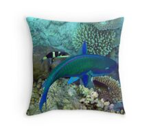 Fish Cleaner in Action Throw Pillow
