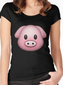 Pig Face Emoji Women's Fitted Scoop T-Shirt