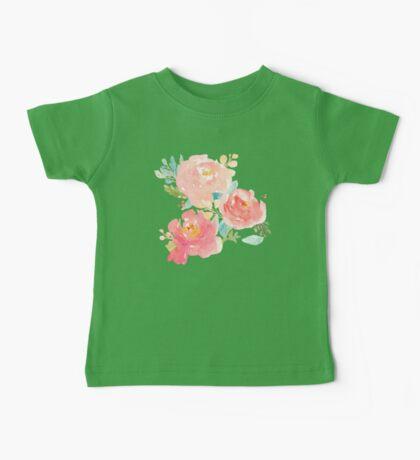 Peonies Watercolor Bouquet Baby Tee