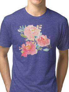 Peonies Watercolor Bouquet Tri-blend T-Shirt