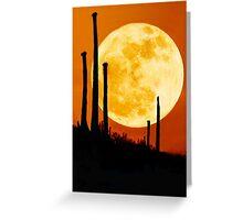 Moon Rise Over Desert Greeting Card