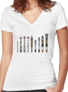Sonic Screwdrivers  Women's Fitted V-Neck T-Shirt