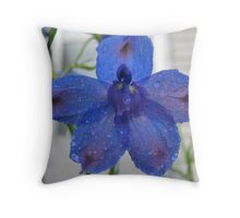 Blue Delphinium Throw Pillow