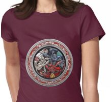 Celtic Treasures - Three Dogs on Silver and Black Velvet Womens Fitted T-Shirt