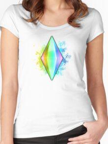 Rainbow Plumbbob Grunge Women's Fitted Scoop T-Shirt
