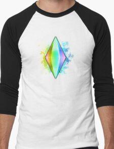 Rainbow Plumbbob Grunge Men's Baseball ¾ T-Shirt