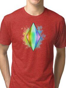 Rainbow Plumbbob Grunge Tri-blend T-Shirt