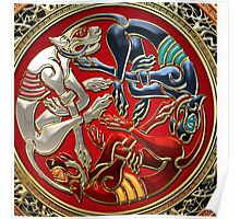 Celtic Treasures - Three Dogs on Gold and Red Velvet Poster