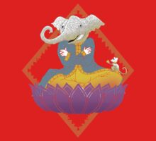 Ganesh on Lotus with Mouse Kids Tee