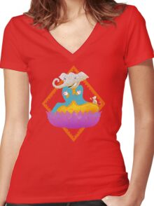 Ganesh on Lotus with Mouse Women's Fitted V-Neck T-Shirt