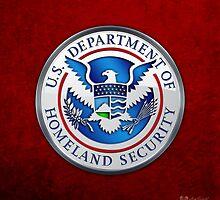 Department of Homeland Security - DHS Emblem 3D on Red Velvet by Serge Averbukh
