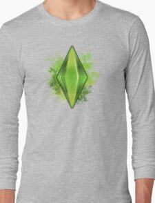 Green Plumbbob Grunge Long Sleeve T-Shirt