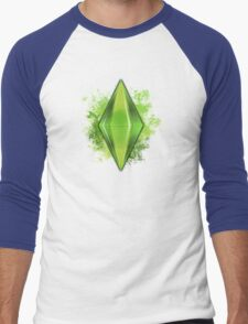 Green Plumbbob Grunge Men's Baseball ¾ T-Shirt