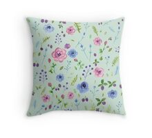 Watercolor flowers on mint Throw Pillow