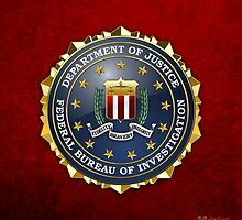 Federal Bureau of Investigation - FBI Emblem 3D on Red Velvet by Serge Averbukh