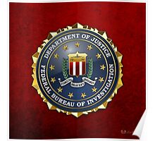 Federal Bureau of Investigation - FBI Emblem 3D on Red Velvet Poster