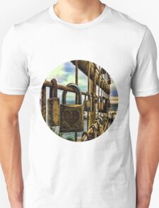 LOVE PADLOCKS(LOVE LOCKS) ON GATE(A SYMBOL OF LOVE AND COMMITMENT)..--PILLOW,TOTE BAG,CELL PHONE COVERS,PICTURE,ECT. T-Shirt