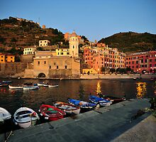 Vernazza Harbor at Sunset by Robert Case