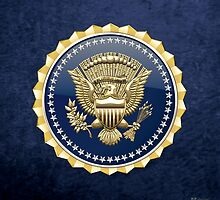 Presidential Service Badge - PSB 3D on Blue Velvet by Serge Averbukh