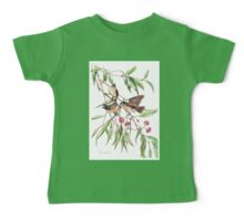 Spotted Pardalotes on Pink Flowering Gum Baby Tee