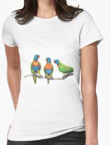 Rainbow Lorikeet Trio Womens Fitted T-Shirt