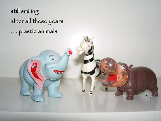 Plastic Animals Haiku Art Print by reflekshins