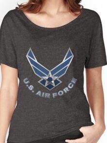 U.S. Air Force - USAF Logo 3D on Blue Velvet Women's Relaxed Fit T-Shirt
