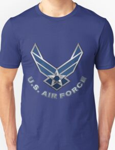 U.S. Air Force - USAF Logo 3D on Blue Velvet T-Shirt