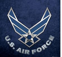 U.S. Air Force - USAF Logo 3D on Blue Velvet by Serge Averbukh