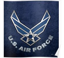 U.S. Air Force - USAF Logo 3D on Blue Velvet Poster