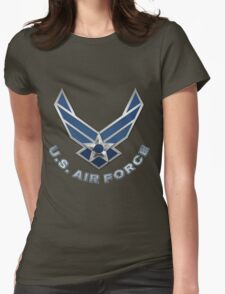 U.S. Air Force - USAF Logo 3D on Red Velvet Womens Fitted T-Shirt