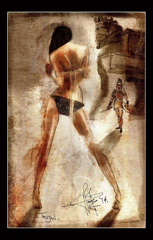 Trojan - a Greek Warrior and a girl by hariscizmic