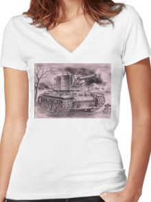 Very Stronk Tenk KV-2 Women's Fitted V-Neck T-Shirt