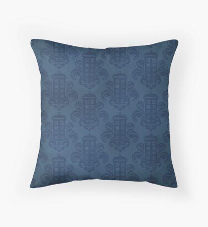 Tardis Damask Pattern Throw Pillow