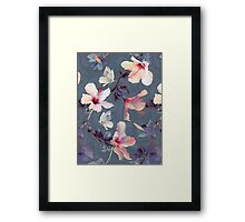 Butterflies and Hibiscus Flowers - a painted pattern Framed Print