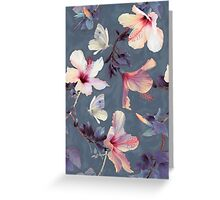 Butterflies and Hibiscus Flowers - a painted pattern Greeting Card