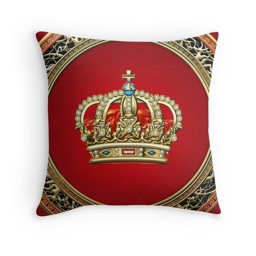 Gold Crown Throw Pillow :