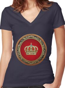 Prince-Princess King-Queen Crown [Gold] Women's Fitted V-Neck T-Shirt