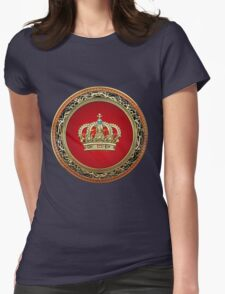 Prince-Princess King-Queen Crown [Gold] Womens Fitted T-Shirt