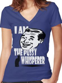 pussy whisperer Women's Fitted V-Neck T-Shirt