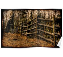Scenic Rustic Fence in the Country Poster