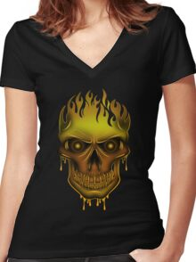 Flame Skull - Gold (2) Women's Fitted V-Neck T-Shirt