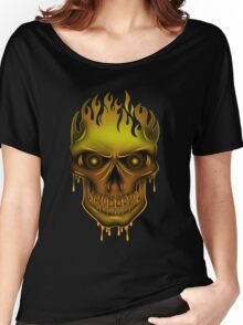 Flame Skull - Gold (2) Women's Relaxed Fit T-Shirt