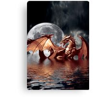 Dragon Moon Fantasy Art Design Canvas Print