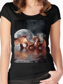 Dragon Moon Fantasy Art Design Women's Fitted Scoop T-Shirt