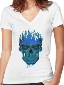 Flame Skull - Blue Women's Fitted V-Neck T-Shirt